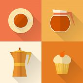 Flat coffee icons set