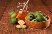 Feijoa Fruits And Bank Of Honey