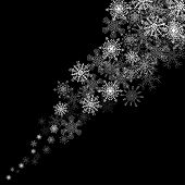 Snowflakes blizzard in the darkness
