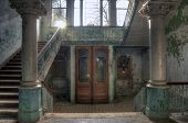 Old Staircase In An Abandoned Hospital