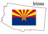 Arizona State Map And Flag