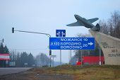 Moscow  Area, Russia, November, 15, 2014: Guide sign, indicated the road to Mozhaisk and Borodino. Borodino is a place of historical battle between the Russian army and the French army of Napoleon