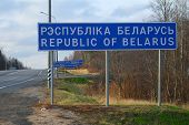 Frontier of Russia and Belarus, Russia, November, 15, 2014: Guide sign, indicated the beginning of Belarus.