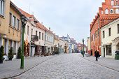 Kaunas, Lithuanian - November, 17, 2014: cobble-stone of Kaunas old town, the area in which historical flavor of an old city is kept