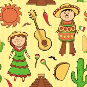 Mexican culture vector seamless pattern