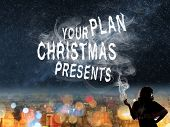 Christmas concept of  plan to buy with Asian lady and smoke text in the city night.