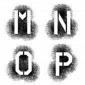 vector stencil angular spray font letters M N O P