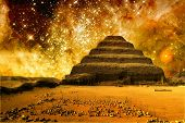 Step Pyramid And The Tarantula Nebula (elements Of This Image Fu