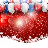 Balloons and snowflake celebration background for Christmas and the New Year