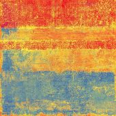 Textured old pattern as background. With different color patterns: blue; orange; red; yellow