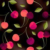 Cherry on black blur background.