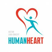 Human heart - vector logo concept illustration. Human character with heart symbol - vector logo temp