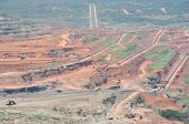 image of open-pit mine  - open pit mining of coal and working machinery - JPG