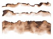 Burned paper edges isolated on white background