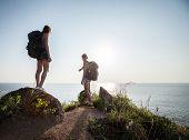 Two ladies hikers exploring rocky terrain