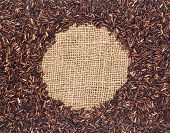 Red Rice On Burlap Fabric