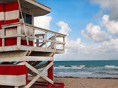Red And White Lifeguard Shack