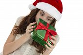 Curious Christmas Woman Peeking Into Gift Box
