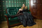 Beautiful blonde in a gothic gown.