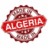 Made In Algeria Red Stamp Isolated On White Background