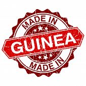 Made In Guinea Red Stamp Isolated On White Background
