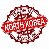 Made In North Korea Red Stamp Isolated On White Background