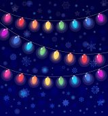vector realistic lantern garland on dark night sky background with snowflakes