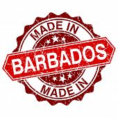 Made In Barbados Red Stamp Isolated On White Background