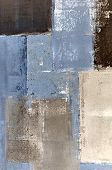 pic of abstract painting  - Modern blue and beige abstract painting with simple lines and texture - JPG