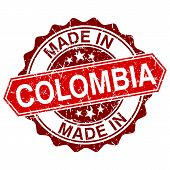 Made In Colombia Red Stamp Isolated On White Background