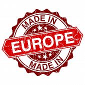Made In Europe Red Stamp Isolated On White Background