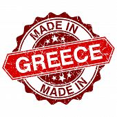 Made In Greece Red Stamp Isolated On White Background