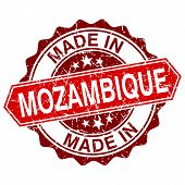Made In Mozambique Red Stamp Isolated On White Background