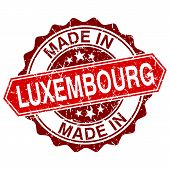 Made In Luxembourg Red Stamp Isolated On White Background