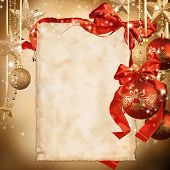 Christmas celebration theme with blank paper for text