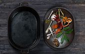 Various Spices And Cauldron