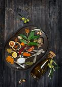 Colorful Assortment Of  Spices And Olive Oil