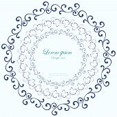 Decorative round frame. Abstract vector floral ornament.