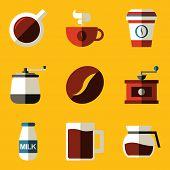Flat icon set. Coffee