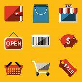 Flat icon set. Shop