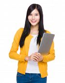 Asian woman hold laptop