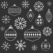Chalkboard Snowflakes and Ornaments