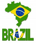 Brazil map flag and text illustration