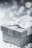 Chrstmas Present In Silver Shiny Box