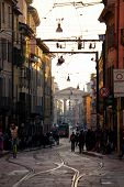 Busy Urban Life In The Street Of Milan, Italy