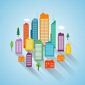 Vector flat building design cityscape background