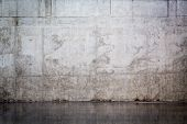 image of wall-stone  - Grungy and smooth bare concrete wall for background - JPG