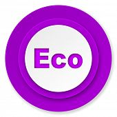 eco icon, violet button, ecological sign