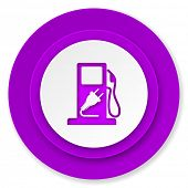 fuel icon, violet button, hybrid fuel sign