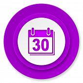 calendar icon, violet button, organizer sign